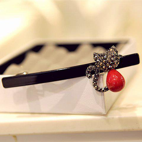 Cute Faux Pearl Rhinestone Kitten Hairpin For Women