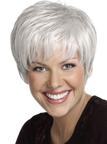 Silvery White Fluffy Side Bang Straight Capless Short Elegant Heat Resistant Fiber Wig For Women elegant heat resistant fiber brown capless fluffy curly side bang women s short wig