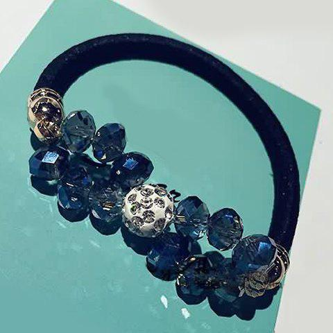 Chic Faux Crystal Beads Bow Elastic Hair Band For Women - BLUE