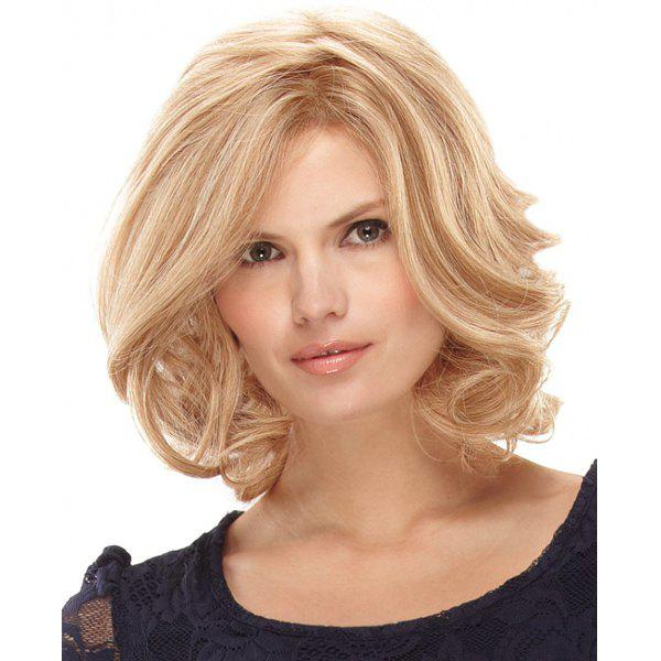 Trendy Capless Fluffy Wavy Light Blonde Medium Synthetic Charming Middle Part Women's Wig