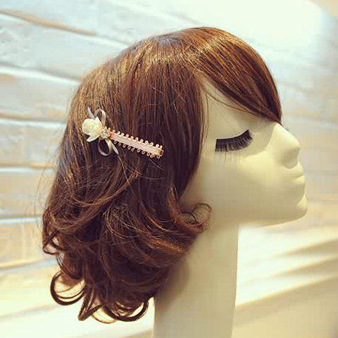Fresh Style Rhinestone Flower Bow Hairpin For Women - PINK