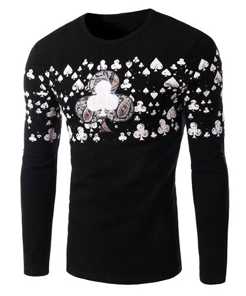 Quincuncial Applique Color Block Heat Print Round Neck Long Sleeves Men's Slim Fit Flocky T-Shirt - BLACK 2XL