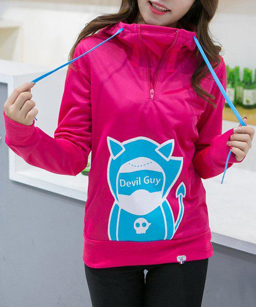 Stylish Long Sleeves Character Printed Zipped Hoodie For Women