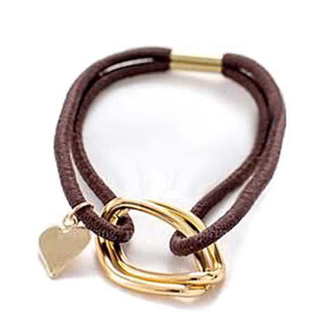 Delicate Heart Pendant Double-Layered Elastic Hair Band For Women - COFFEE