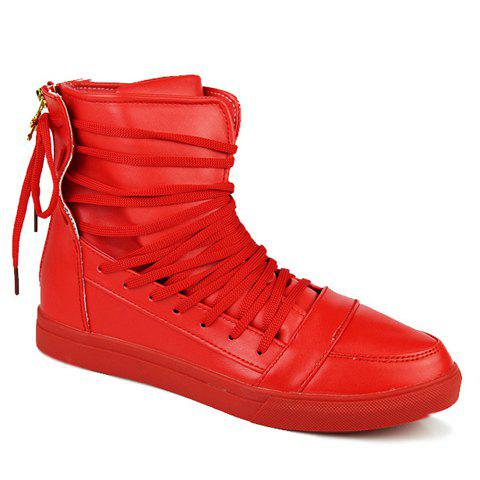 Stylish Solid Color and High-Top Design Casual Shoes For Men, RED ...