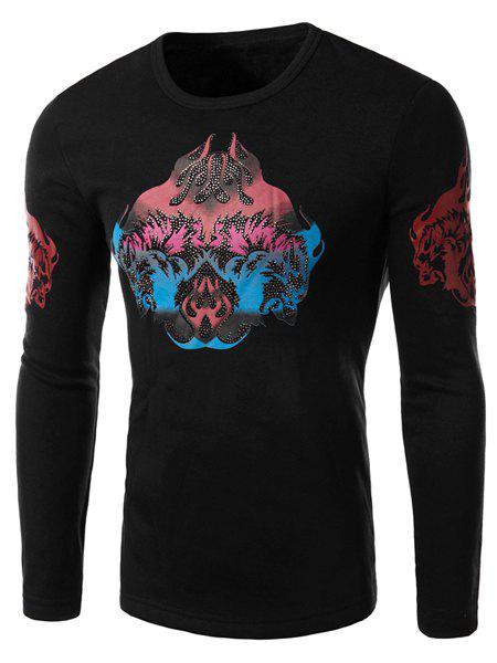 Stereo Abstract Print Beads Embellished Hit Color Round Neck Long Sleeves Men's Slim Fit Flocky T-Shirt - BLACK XL