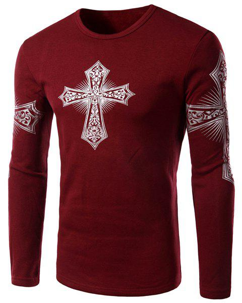 Modern Style Round Neck Color Block Special Cross Print Slimming Long Sleeves Men's Flocky T-Shirt - RED L