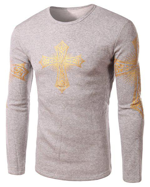 Modern Style Round Neck Color Block Special Cross Print Slimming Long Sleeves Men's Flocky T-Shirt - LIGHT GRAY XL