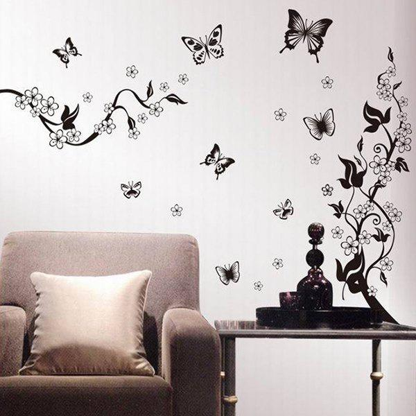 DIY New Butterfly Pattern Home Decoration Decorative Wall Stickers - WHITE/BLACK