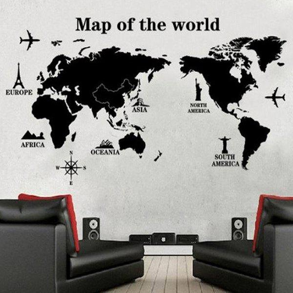 DIY New Map Pattern Home Decoration Decorative Wall Stickers - BLACK