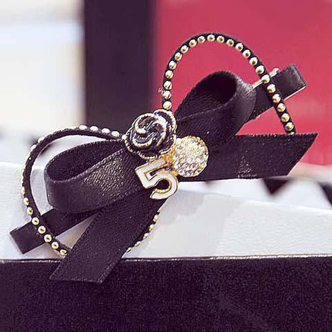 Attractive Rhinestone Rivet Bow Hairpin For Women - COLORMIX