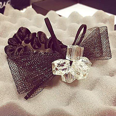 Graceful Square Rhinestone Bow Mesh Elastic Hair Band For Women - COLORMIX
