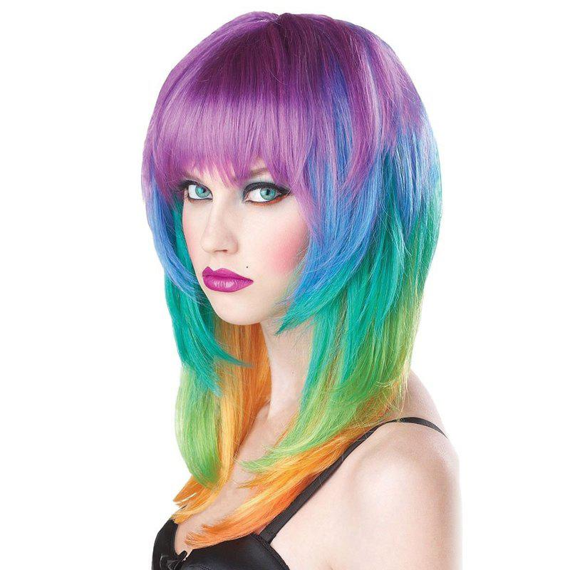 Offbeat Rainbow Fashion Full Bang Layered Charming Capless Long Straight Synthetic Women's Wig - COLORMIX