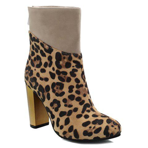 Fashion Leopard Print and Splice Design High Heel Boots For Women - LIGHT YELLOW 38