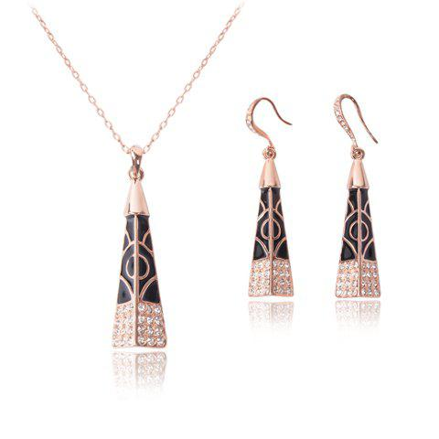 A Suit of Delicate Rhinestone Geometric Necklace and Earrings For Women