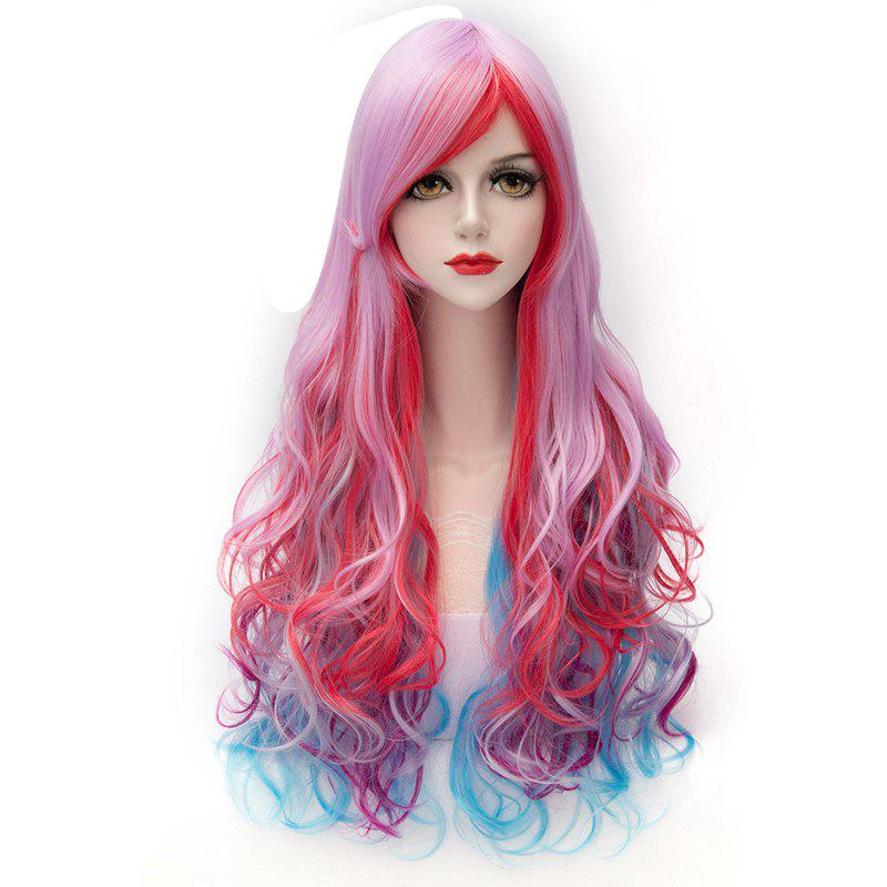 Colorful Gradient Towheaded Wave Inclined Bang Long Synthetic Trendy Capless Women's Costume Wig