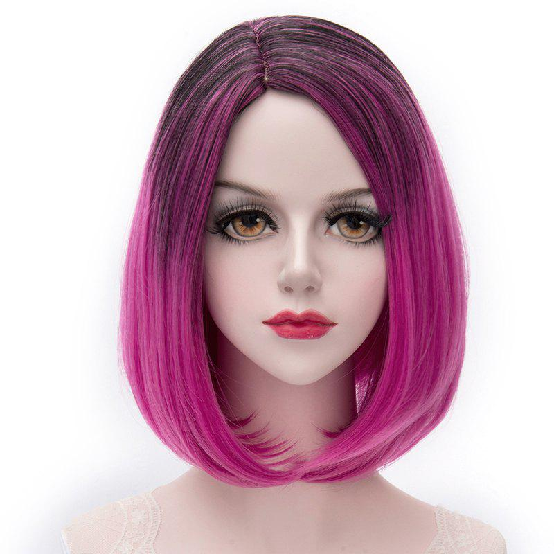 Charming Short Synthetic Black Gradient Rose Straight Fashion Centre Parting Capless Women's Cosplay Wig - COLORMIX