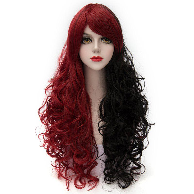 Fashion Long Synthetic Fluffy Curly Side Bang Charming Red Splicing Black Capless Cosplay Wig For Women - COLORMIX
