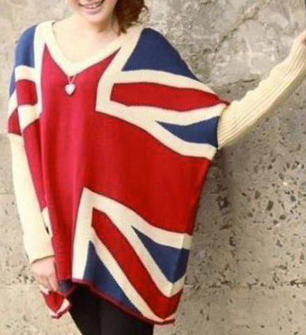 Chic Color Block V-Neck Long Sleeve Sweater For Women - RED ONE SIZE(FIT SIZE XS TO M)