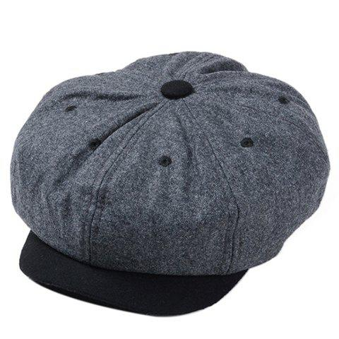 Stylish Embroidery Embellished Color Block Men's Felt Newsboy Cap - GRAY