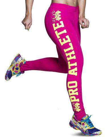 Trendy Letter Printed Color Block Bodycon Sport Leggings For Women - ROSE ONE SIZE(FIT SIZE XS TO M)