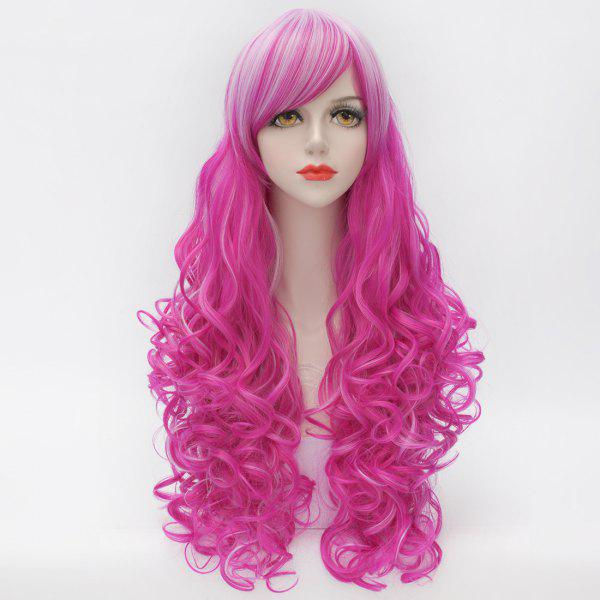 White Highlight Stunning Side Bang Capless Long Synthetic Towheaded Curly Women's Cosplay Wig