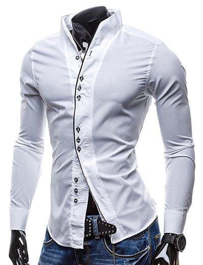 Slimming Stand Collar Personality Button Fly Hit Color Covered Edge Men's Long Sleeves Shirt - WHITE M