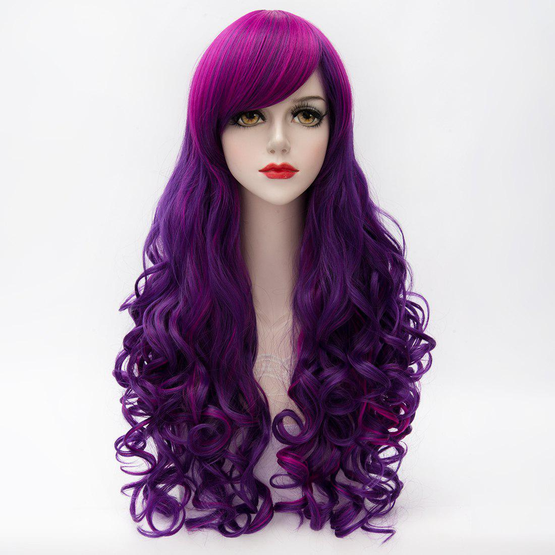 Fluffy bouclés longue Charme Inclined Bang capless Highlight Violet synthétique cosplay perruque de la femme - multicolore
