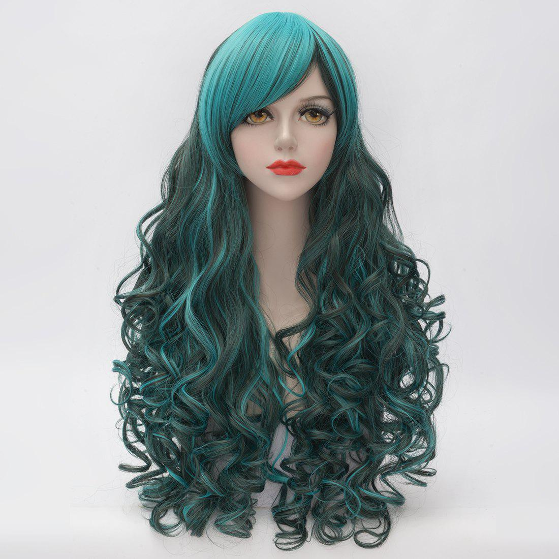 Heat Resistant Synthetic Fluffy Curly Stunning Highlight Long Cosplay Side Bang Capless Wig For Women free shipping hot heat resistant party hair new wig cosplay lolita long mintcream curly heat split type wig