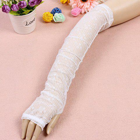 Pair of Chic Solid Color See-Through Women's Long Lace Fingerless Gloves - WHITE