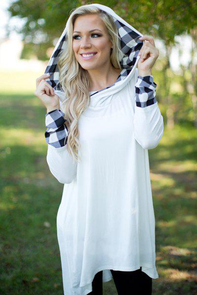 Stylish Hooded Long Sleeve Asymmetrical Gingham Women's Hoodie