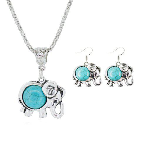 A Suit of Retro Faux Turquoise Elephant Necklace and Earrings - TURQUOISE