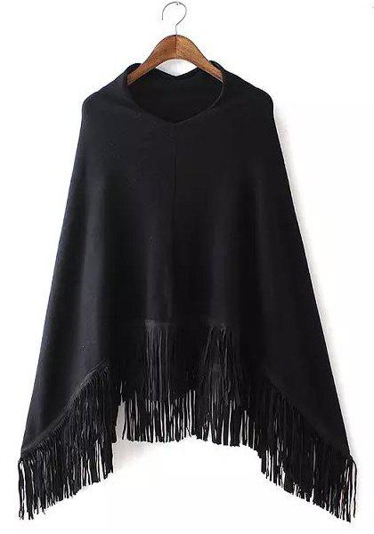Chic V Neck Long Sleeve Asymmetrical Fringed Women's Sweater - BLACK ONE SIZE(FIT SIZE XS TO M)