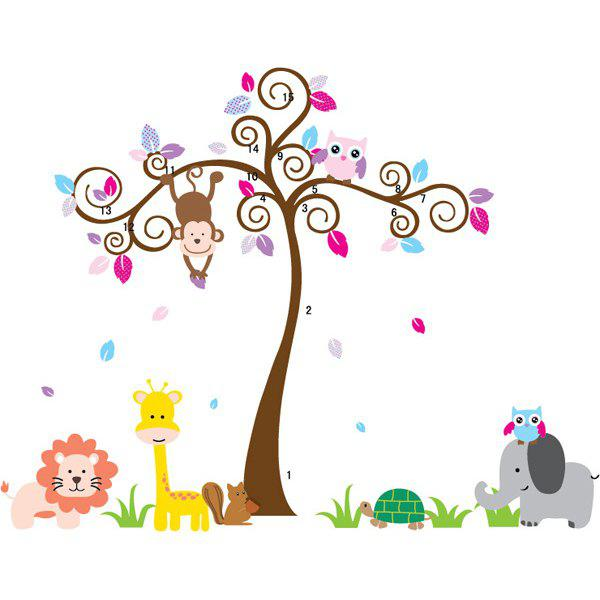 DIY Simple Cartoon Tree and Animal Pattern Home Decoration Decorative Wall Stickers - COLORMIX