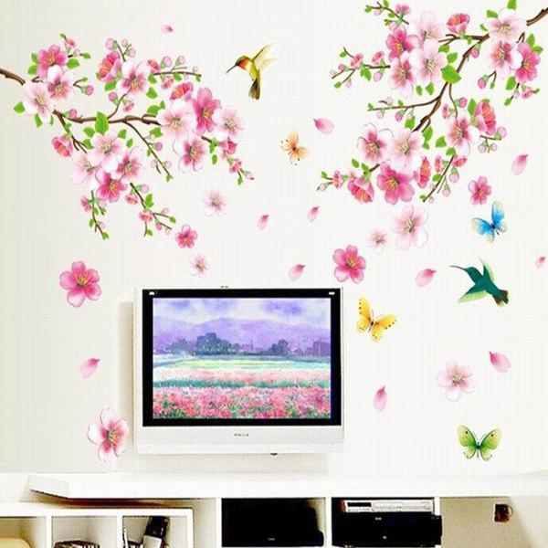 Elegant Flower and Butterfly Pattern Home Decoration Decorative Wall Stickers - COLORMIX
