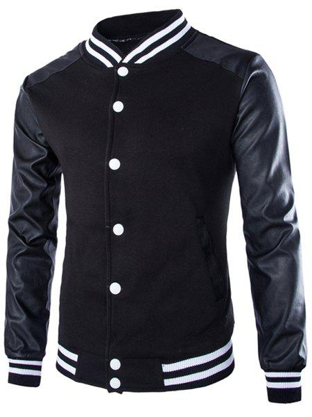 PU-Leather Long Sleeves Striped Rib Spliced Hit Color Stand Collar Men's Flocky Sweatshirt - BLACK L