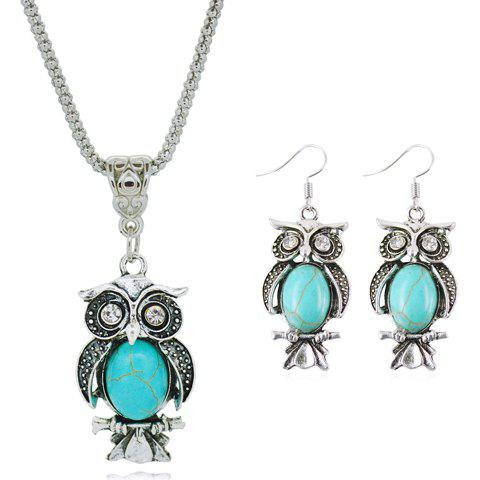 A Suit of Night Owl Faux Turquoise Necklace and Earrings - TURQUOISE
