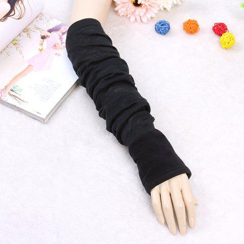 Pair of Chic Color Block Women's Elastic Knitted Arm Sleeves - BLACK GREY