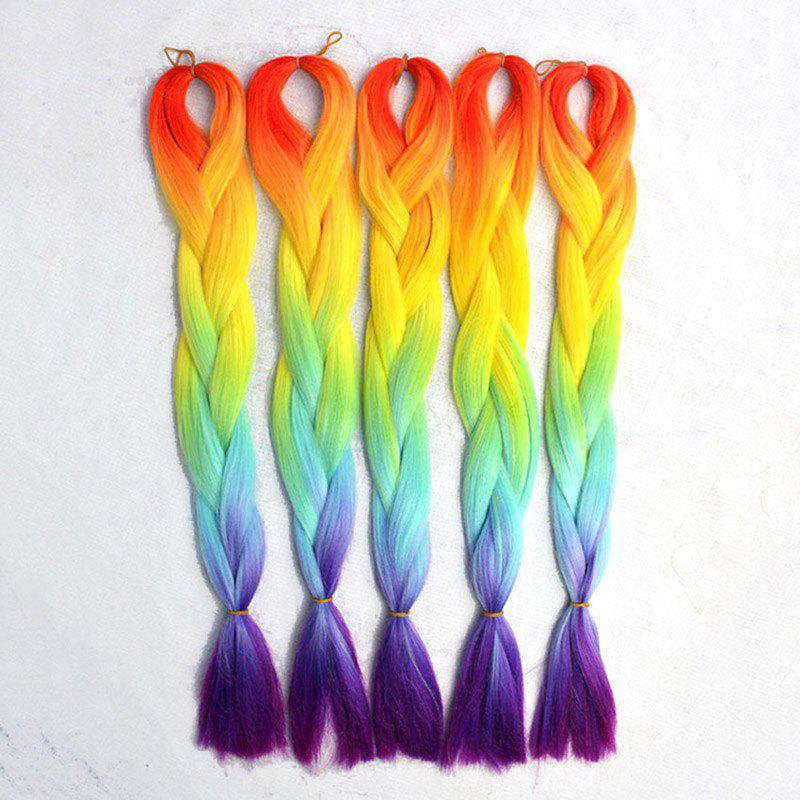 Heat Resistant Synthetic Straight Long Attractive Colorful Ombre Capless Women's Braided Hair Extension - COLORMIX