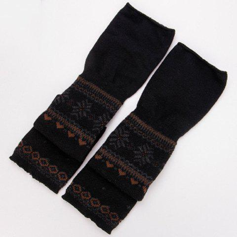 Pair of Chic Snowflake and Lace Pattern Women's Long Knitted Arm Sleeves - BLACK