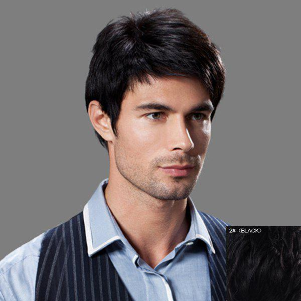 Masculine Side Bang Human Hair Straight Capless Shaggy Short Wig For Men - BLACK