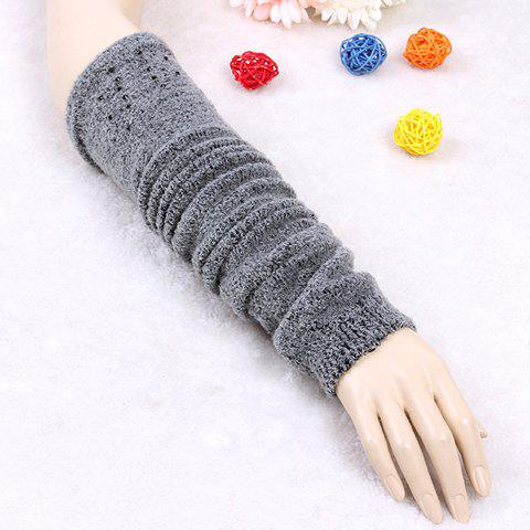 Pair of Chic Faux Gem Embellished Women's Warmth Knitted Arm Sleeves - GRAY