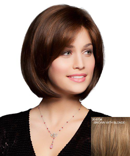 Charming Curly Fashion Centre Parting Human Hair Skilful Short Capless Wig For Women - BROWN/BLONDE