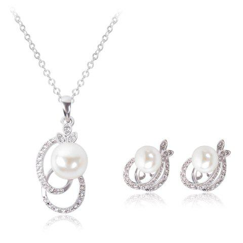 A Suit of Sweet Rhinestone Faux Pearl Hollow Out Oval Necklace and Earrings For Women