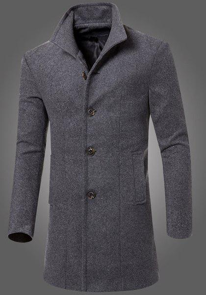Laconic Fitted Stand Collar Patch Pocket Single-Breasted Woolen Blend Long Sleeves Men's Thicken Coat - M GRAY