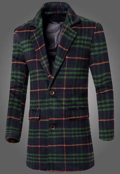 Thicken Fitted Full Sleeves Color Block Patch Pocket Woolen Blend Lapel Men's Plaid Long Coat - GREEN L