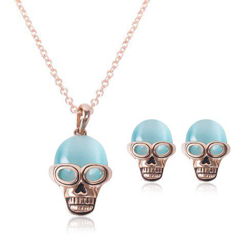 A Suit of Trendy Faux Opal Skull Necklace and Earrings For Women - ROSE GOLD