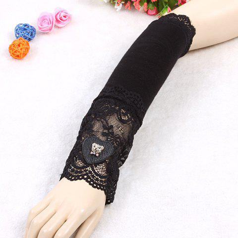 Pair of Chic Heart Lace  Cartoon Bear Head Shape Embellished Women's Arm Sleeves - BLACK