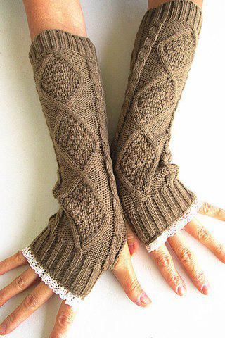 Pair of Chic Rhombus and Lace Edge Embellished Women's Knitted Fingerless Gloves - COLOR ASSORTED