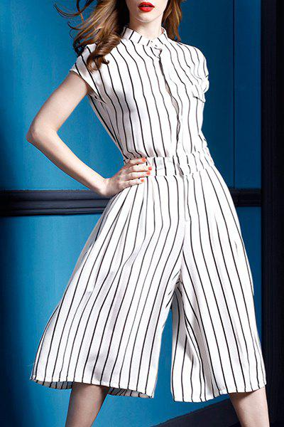 Fashionable Women's Shirt Collar Short Sleeve Striped Jumpsuit ...